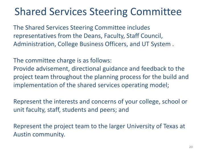 Shared Services Steering Committee