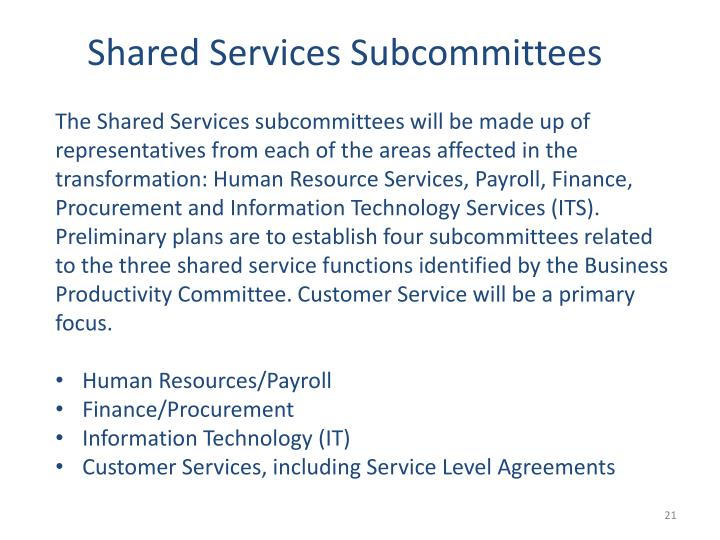 Shared Services Subcommittees