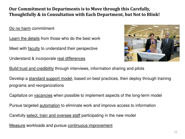 Our Commitment to Departments is to Move through this Carefully, Thoughtfully & in Consultation with Each Department, but Not to Blink!