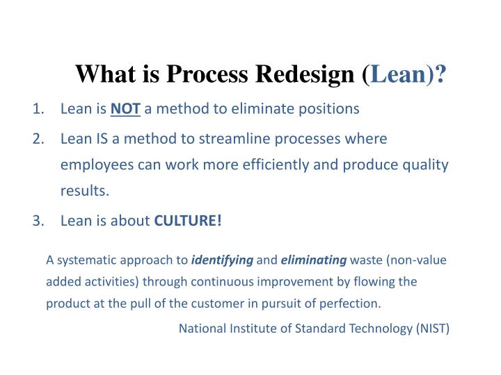 What is process redesign lean