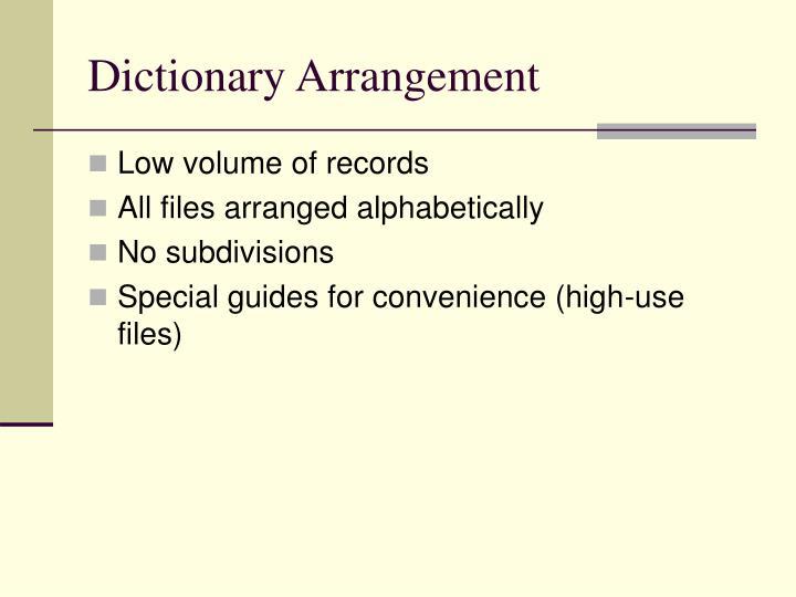 Dictionary Arrangement