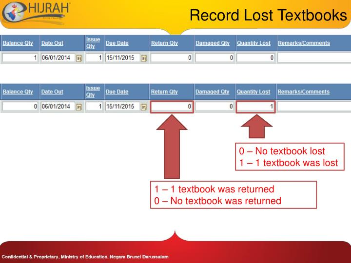 Record Lost Textbooks