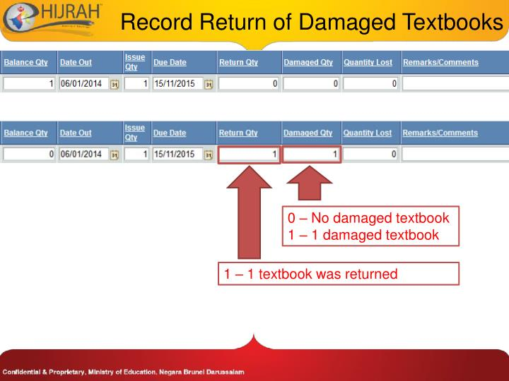 Record Return of Damaged Textbooks