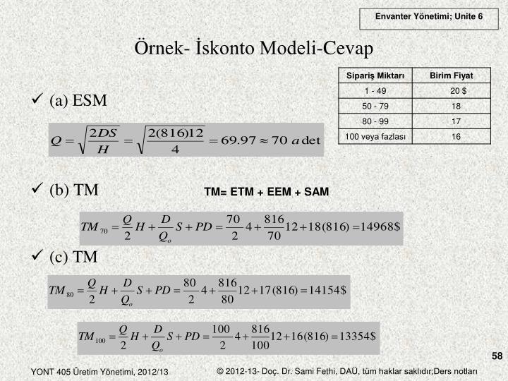Örnek- İskonto Modeli-Cevap