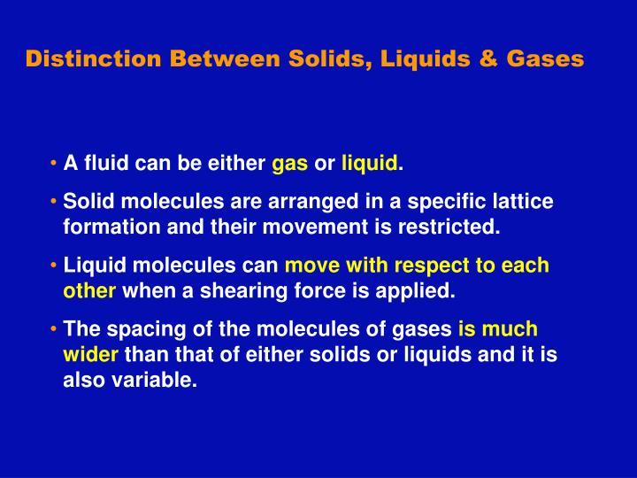 Distinction Between Solids, Liquids & Gases