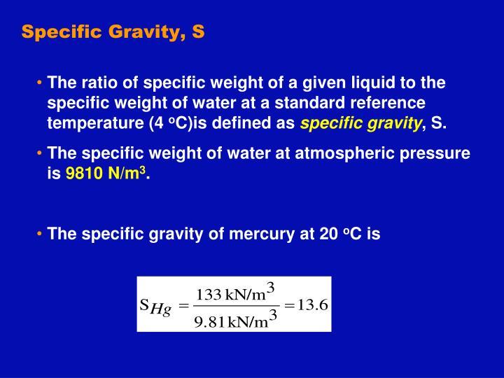 Specific Gravity, S