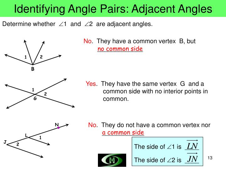 Identifying Angle Pairs: Adjacent Angles