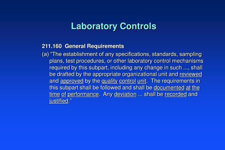 Laboratory Controls