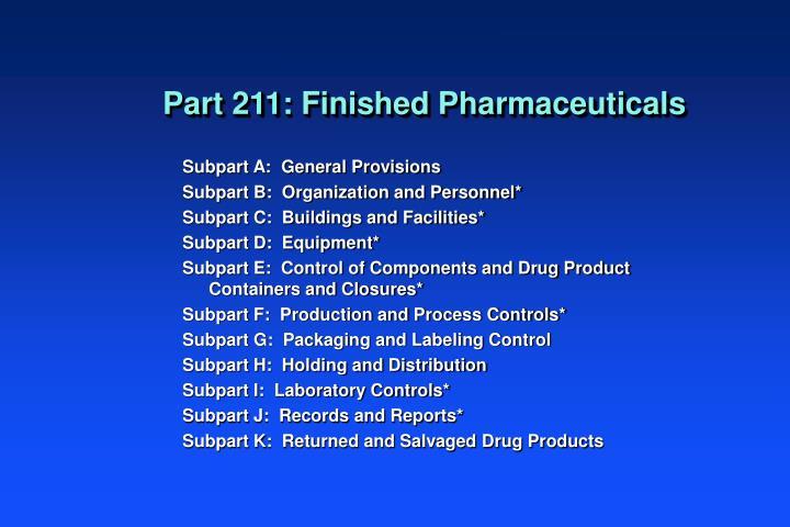 Part 211: Finished Pharmaceuticals