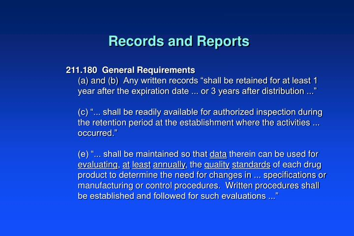 Records and Reports