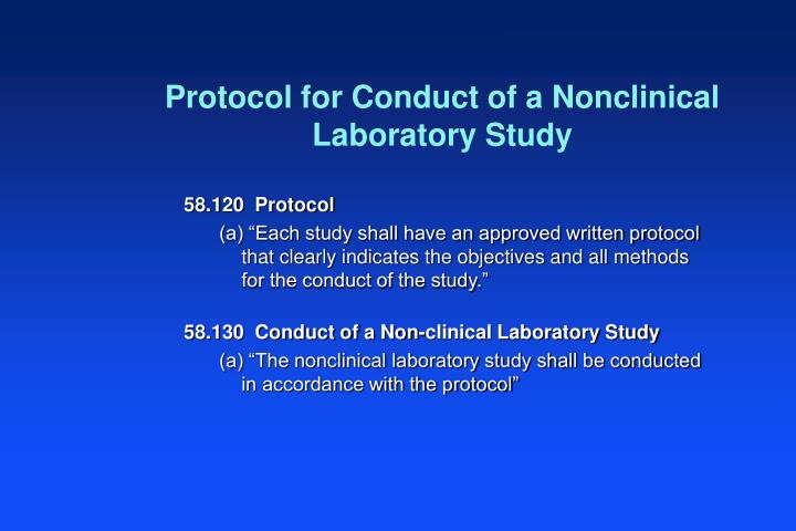 Protocol for Conduct of a Nonclinical Laboratory Study