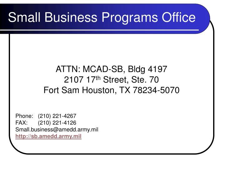 ATTN: MCAD-SB, Bldg 4197