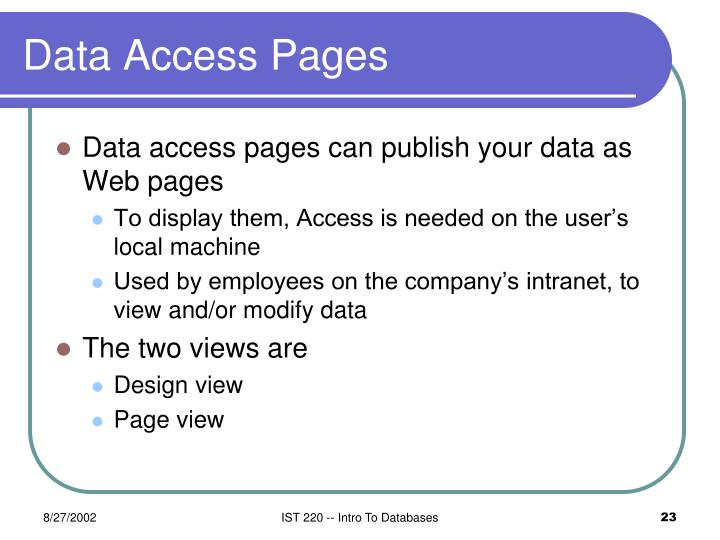 Data Access Pages
