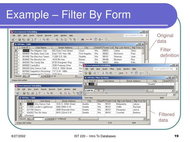 Example – Filter By Form