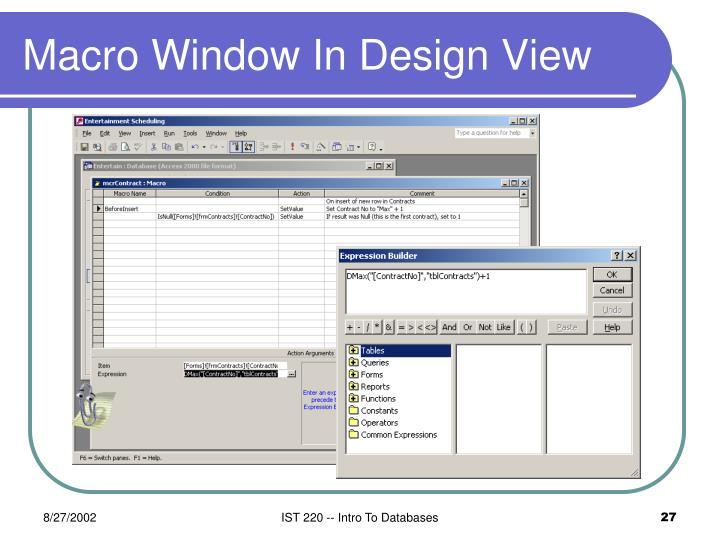 Macro Window In Design View
