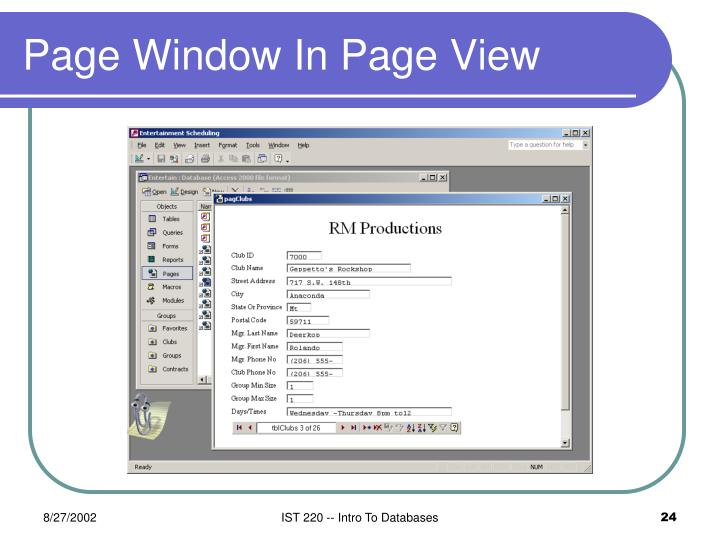 Page Window In Page View