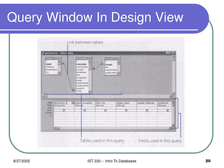 Query Window In Design View