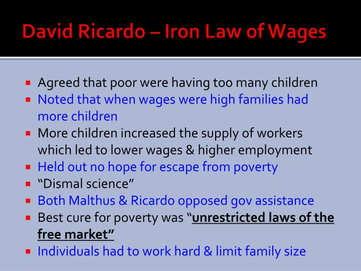 David Ricardo – Iron Law of Wages