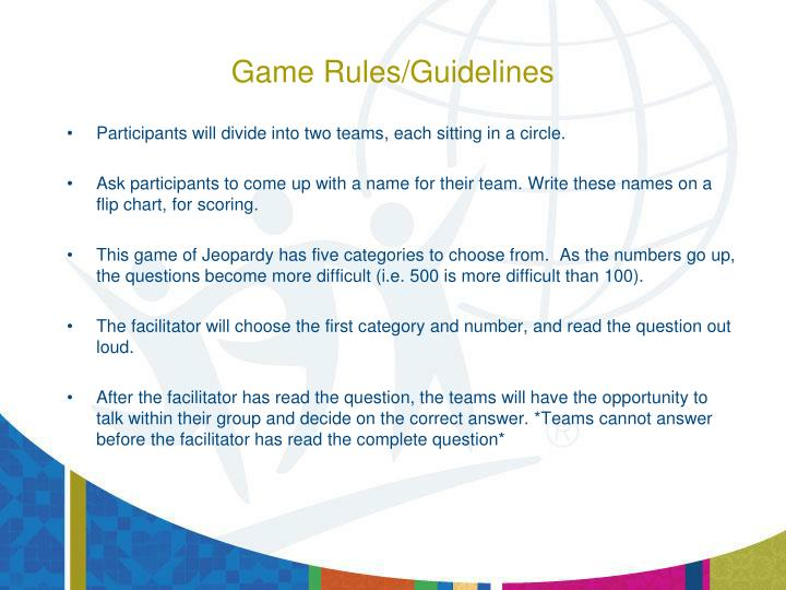 Game rules guidelines