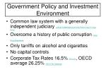 government policy and investment environment