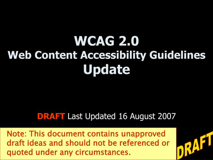 Wcag 2 0 web content accessibility guidelines update