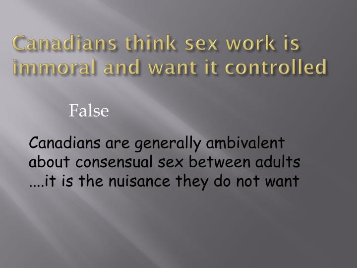 Canadians think sex work is