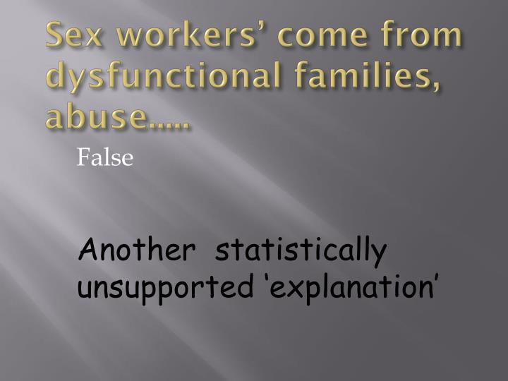 Sex workers' come from dysfunctional families, abuse.....