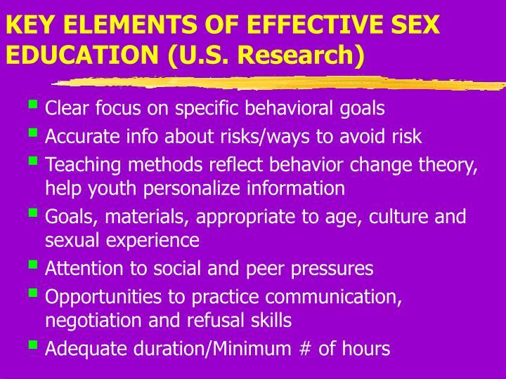KEY ELEMENTS OF EFFECTIVE SEX EDUCATION