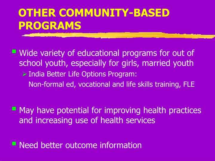 OTHER COMMUNITY-BASED PROGRAMS