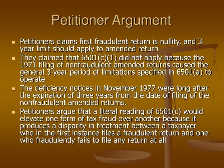 Petitioner Argument