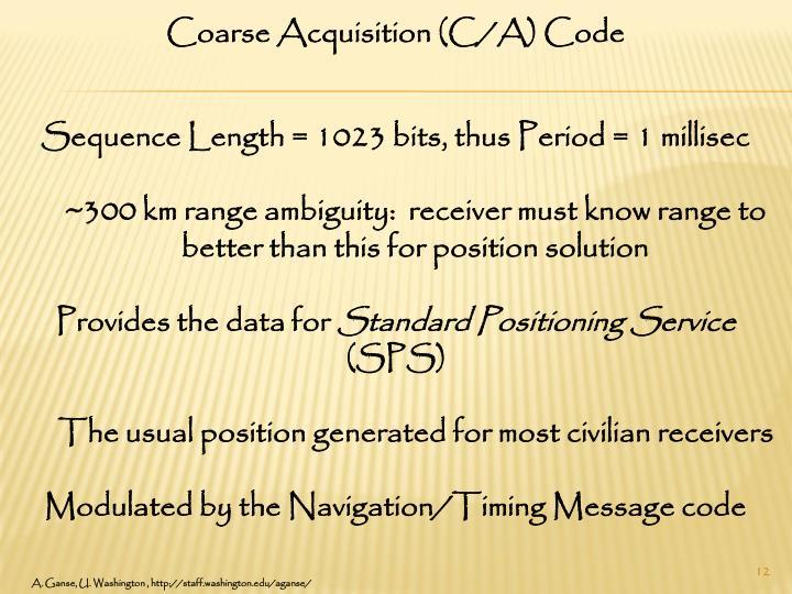 Coarse Acquisition (C/A) Code