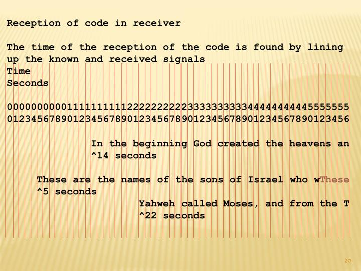 Reception of code in receiver