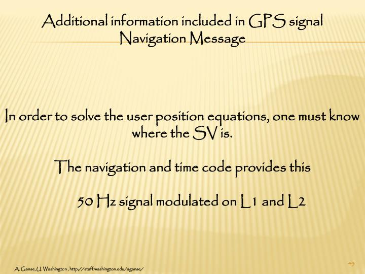 Additional information included in GPS signal