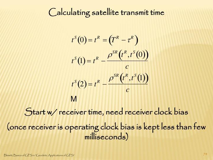 Calculating satellite transmit time