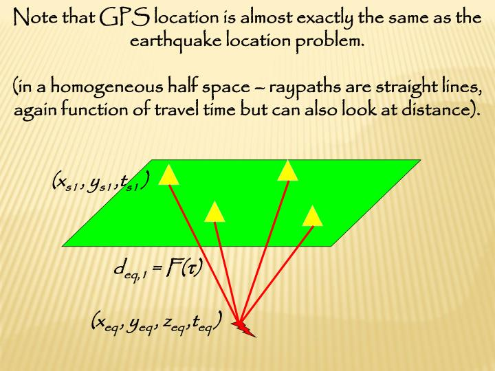Note that GPS location is almost exactly the same as the earthquake location problem.