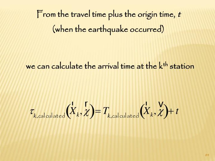 From the travel time plus the origin time,