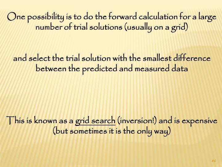 One possibility is to do the forward calculation for a large number of trial solutions (usually on a grid)
