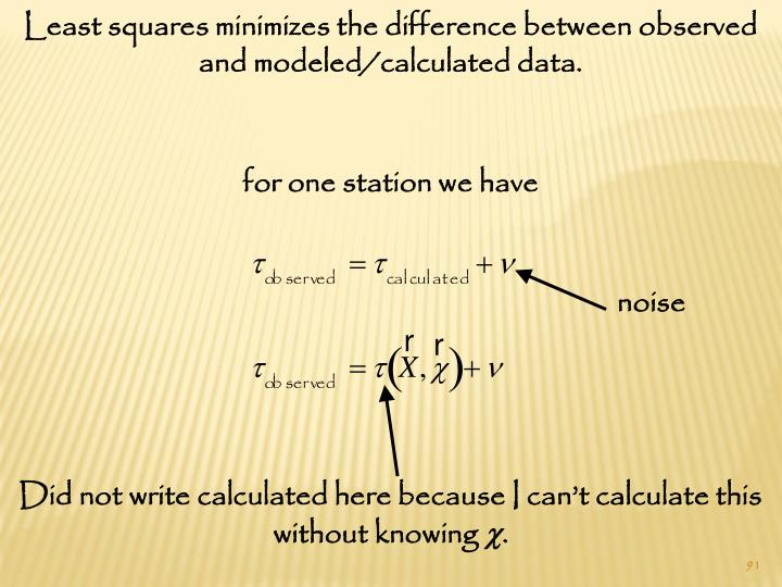 Least squares minimizes the difference between observed and modeled/calculated data.