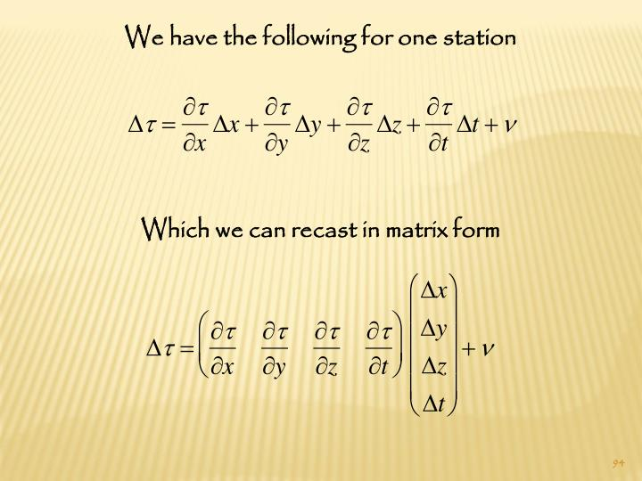 We have the following for one station