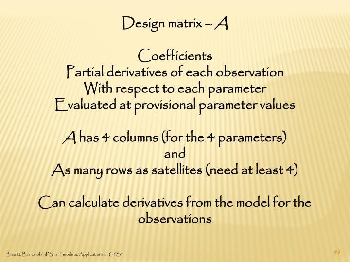 Design matrix –