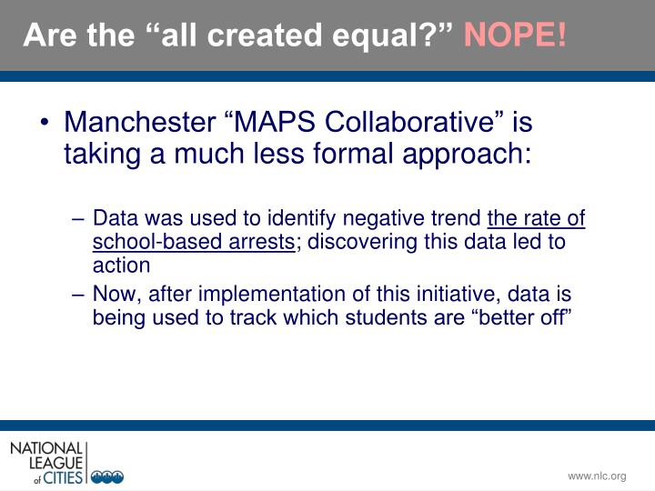 "Manchester ""MAPS Collaborative"" is taking a much less formal approach:"