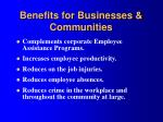 benefits for businesses communities