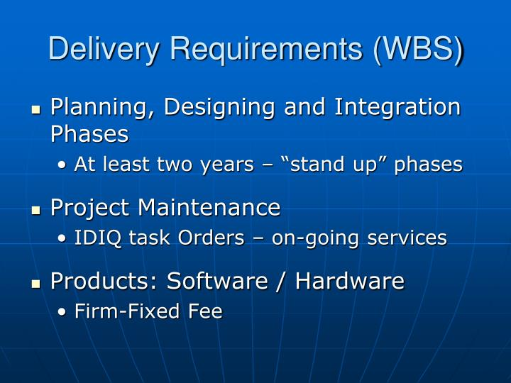 Delivery Requirements (WBS)