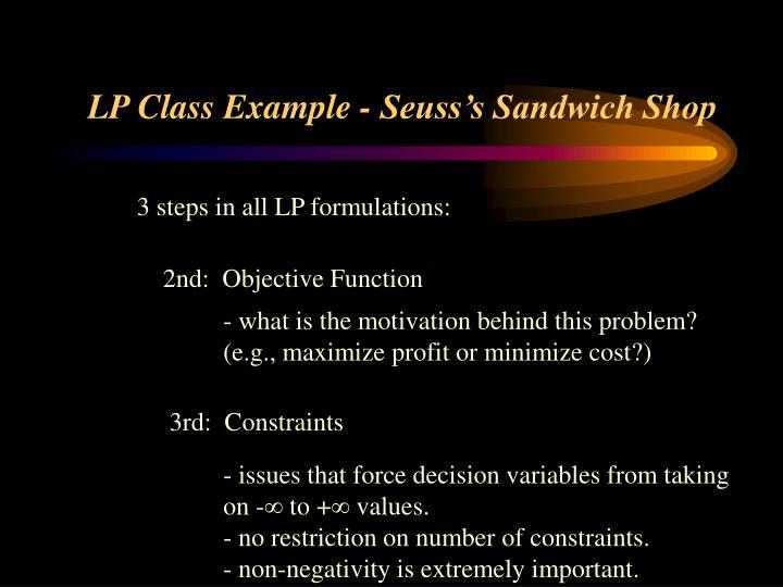 LP Class Example - Seuss's Sandwich Shop