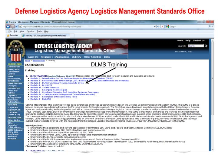 Defense Logistics Agency Logistics Management Standards Office