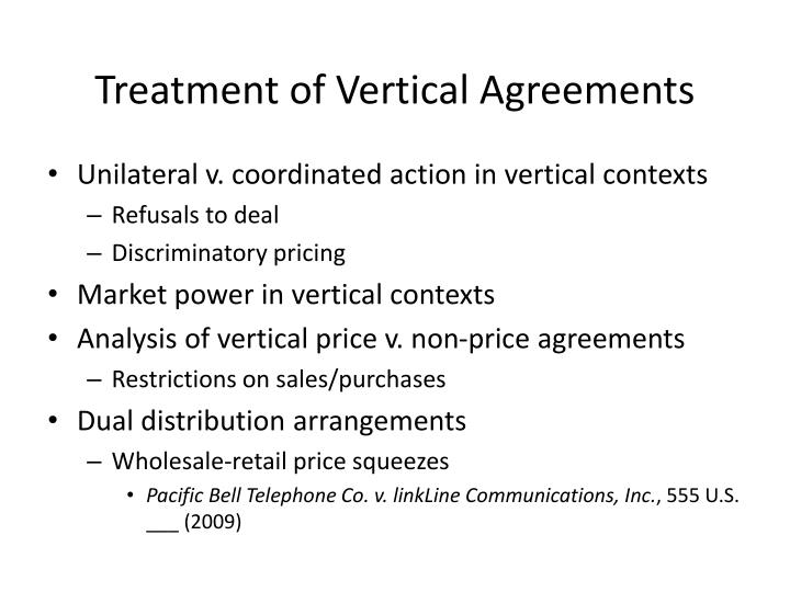 Treatment of Vertical Agreements