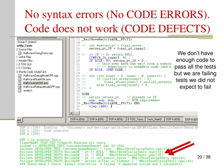No syntax errors