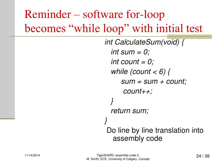 Reminder – software for-loop