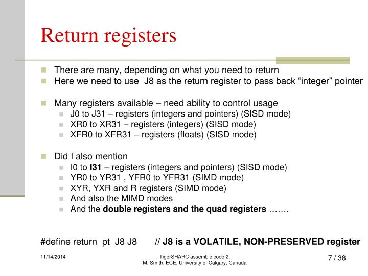 Return registers