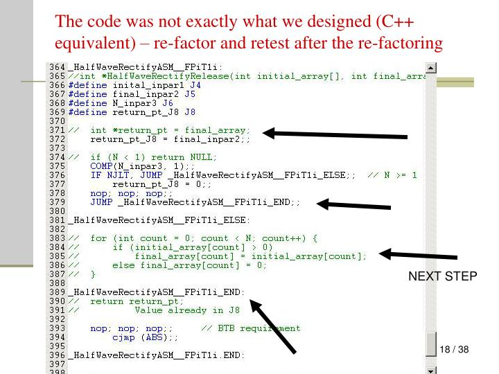 The code was not exactly what we designed (C++ equivalent) – re-factor and retest after the re-factoring
